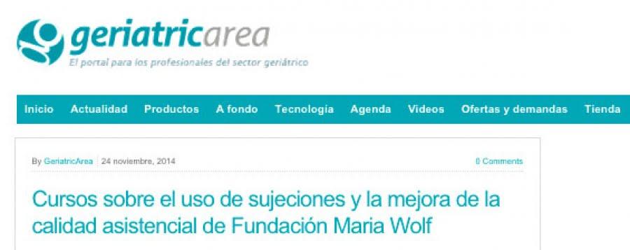 Cursos sobre el uso de sujeciones y la mejora de la calidad asistencial de Fundación Maria Wolff