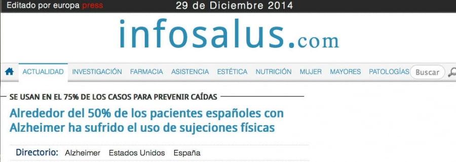 Alrededor del 50% de los pacientes españoles con Alzheimer ha sufrido el uso de sujeciones físicas
